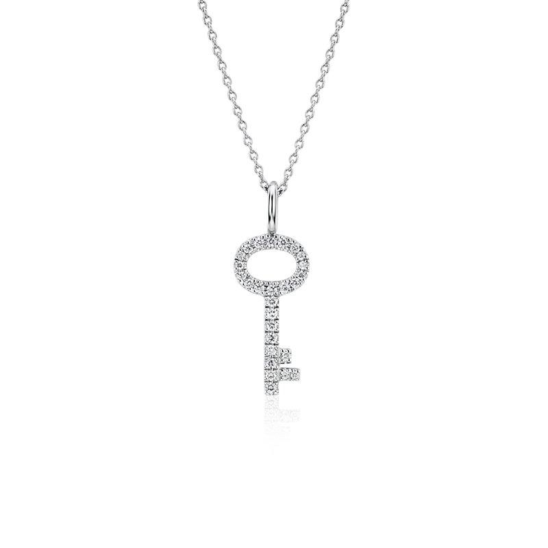 Diamond Key Pendant in 14k White Gold (1/10 ct. tw.)