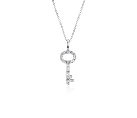 Diamond key pendant in 14k white gold 110 ct tw blue nile diamond key pendant in 14k white gold 110 ct tw aloadofball Image collections