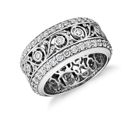 Bague d'éternité dentelle en diamants Bella Vaughan en or blanc 18 carats