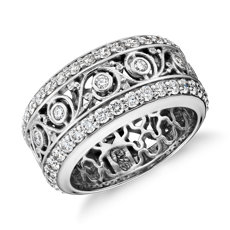 NEW Bella Vaughan for Blue Nile Lace Diamond Eternity Ring in 18k White Gold