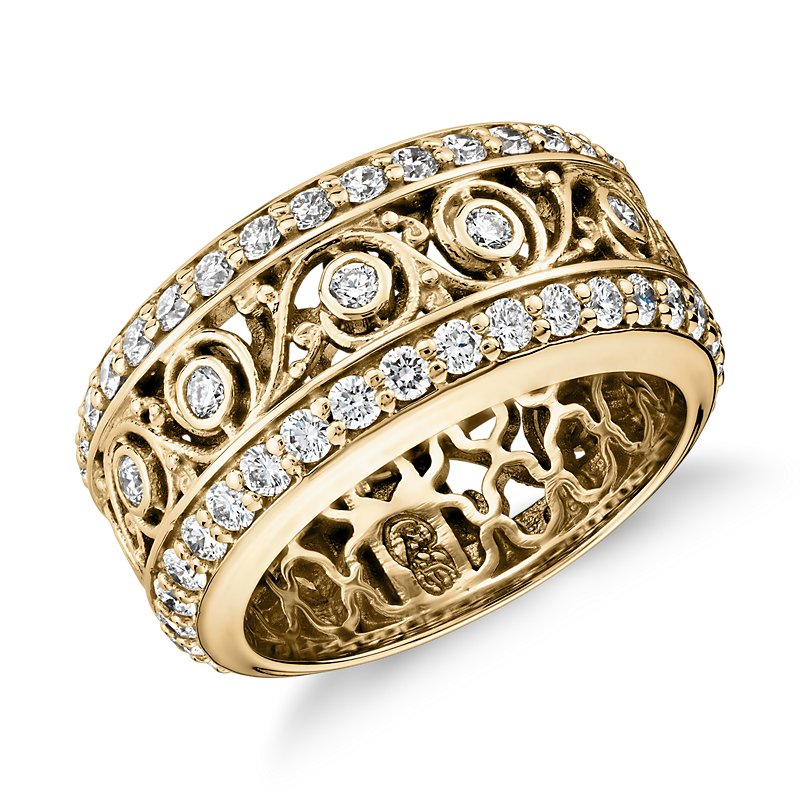 Bella Vaughan for Blue Nile Lace Diamond Eternity Ring in 18k Yel