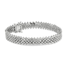 NEW Diamond Lace Tennis Bracelet in 14k White gold (8 ct. tw.)