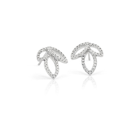 Monique Lhuillier Diamond Leaf Earrings in 18k White Gold (1/3 ct. tw.)