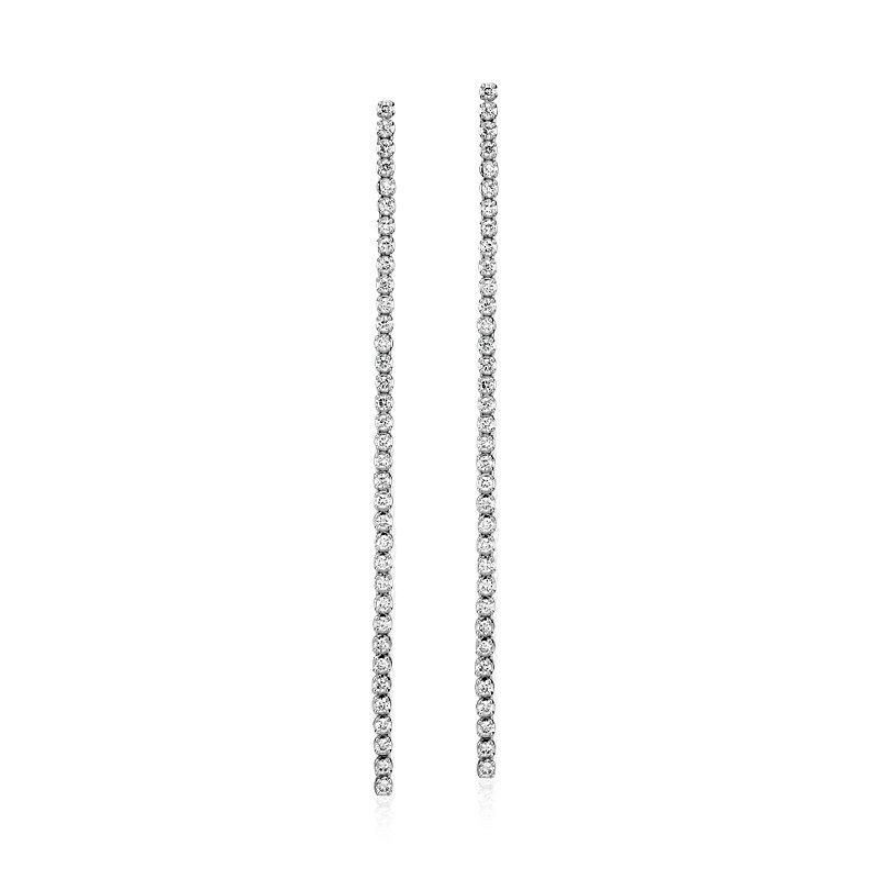 Diamond Long Linear Drop Earrings in 14k White Gold (1 ct. tw.)