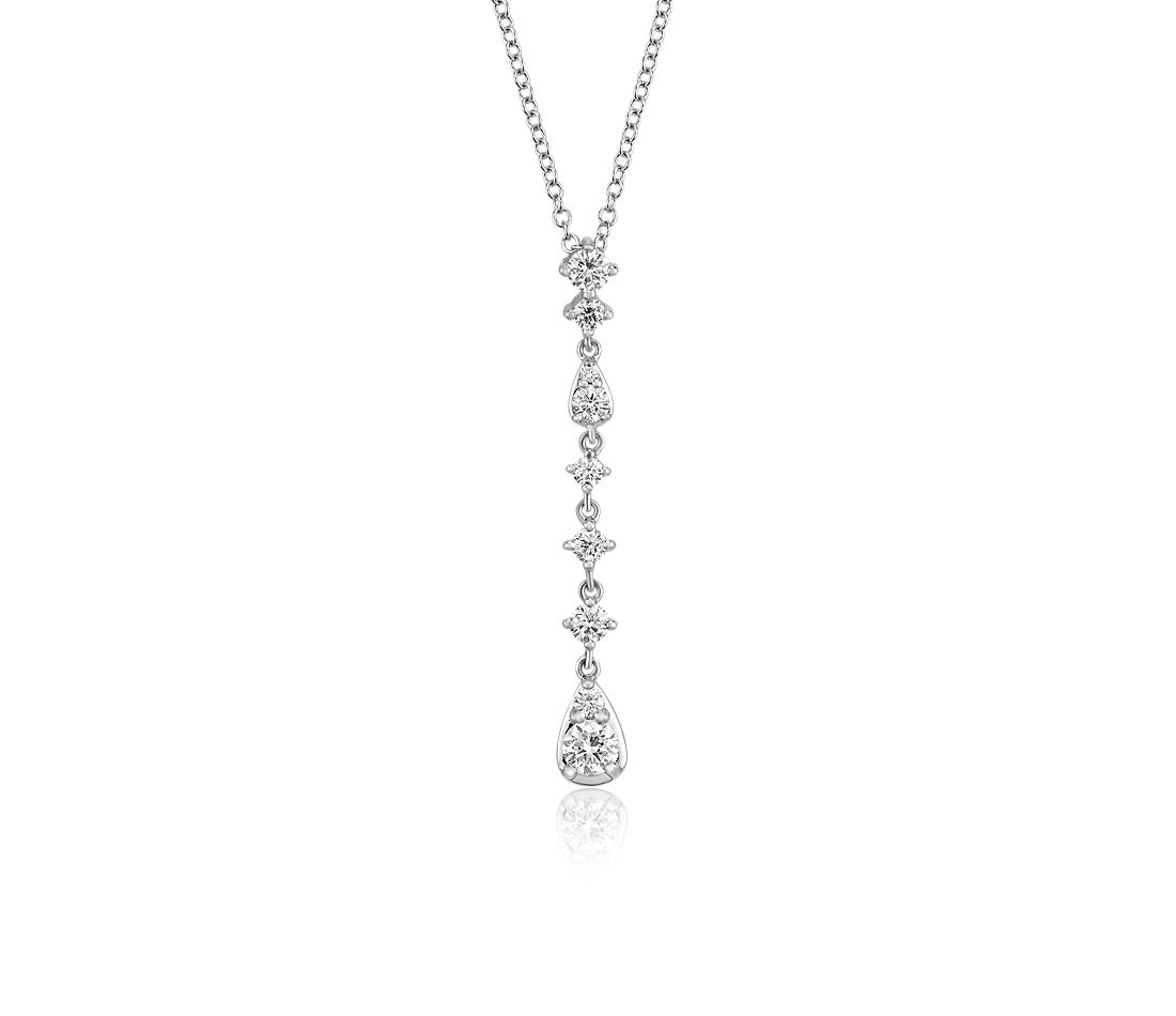 Diamond Linear Drop Pendant in 14k White Gold (3/4 ct. tw.)