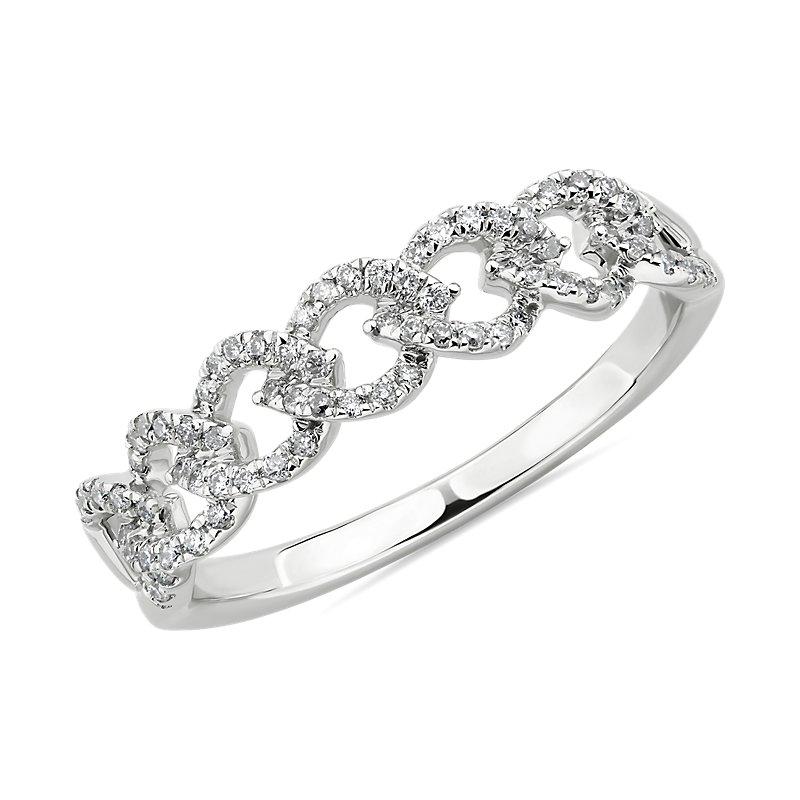 Diamond Link Fashion Ring in 14k White Gold (1/4 ct. tw.)