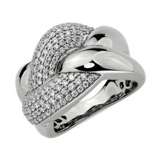 Diamond Link Intertwined Fashion Ring in 14k White Gold (1 ct. tw.)