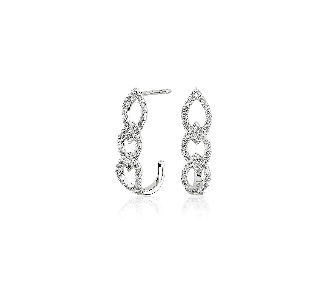 Diamond Link J-Hoop Earrings in 14k White Gold (0.25 ct. tw.)