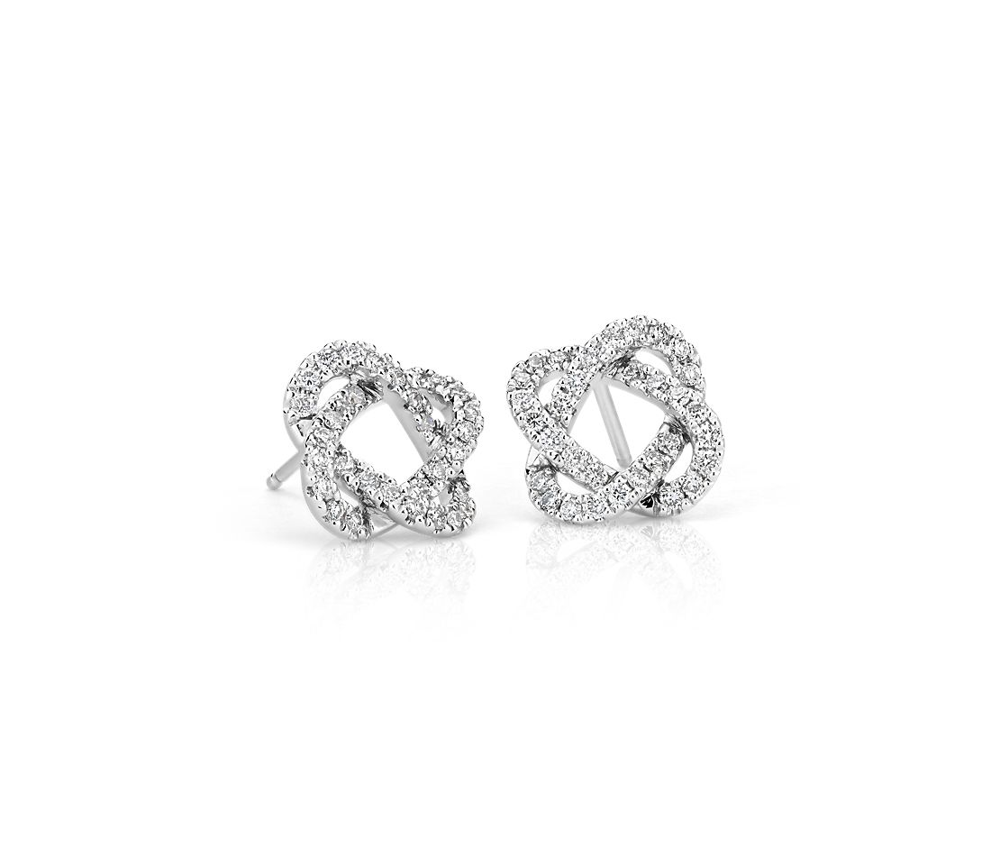 Diamond Love Knot Earrings in 14k White Gold