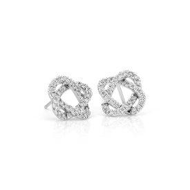 NUEVO. Aretes de diamantes con forma de nudo del amor, en oro blanco de 14 k (1/2 qt. total)