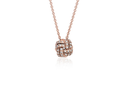 Collier en diamants nœud d'amour en or rose 14 carats (1/4 carat, poids total)