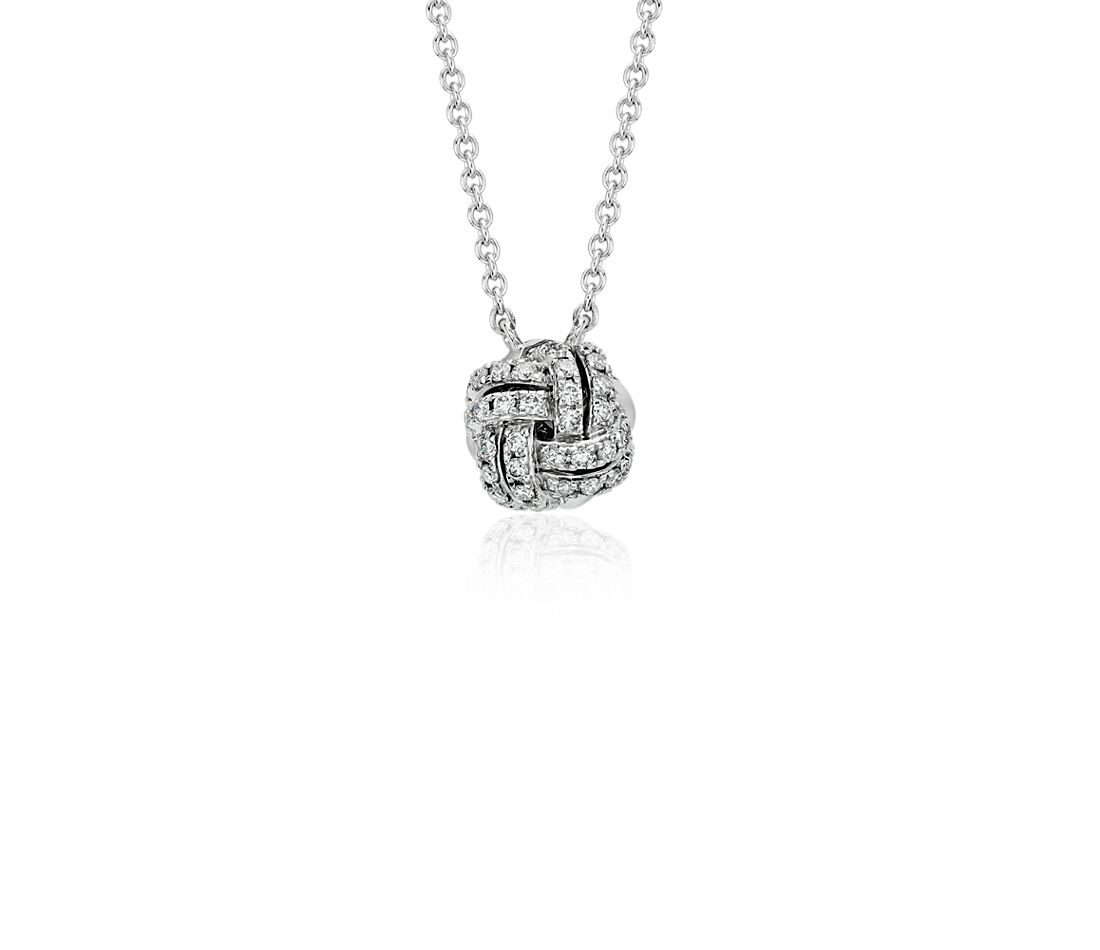 Collier en diamants nœud d'amour en or blanc 14 carats