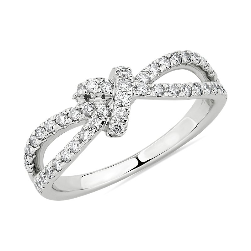 Diamond Love Knot Split Shank Fashion Ring in 14k White Gold (1/2