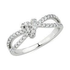 Diamond Love Knot Split Shank Fashion Ring in 14k White Gold (1/2 ct. tw.)