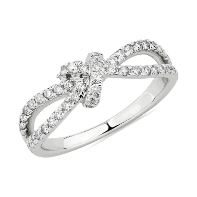 Diamond Love Knot Split Shank Fashion Ring In 14k White Gold 1 2 Ct Tw Blue Nile