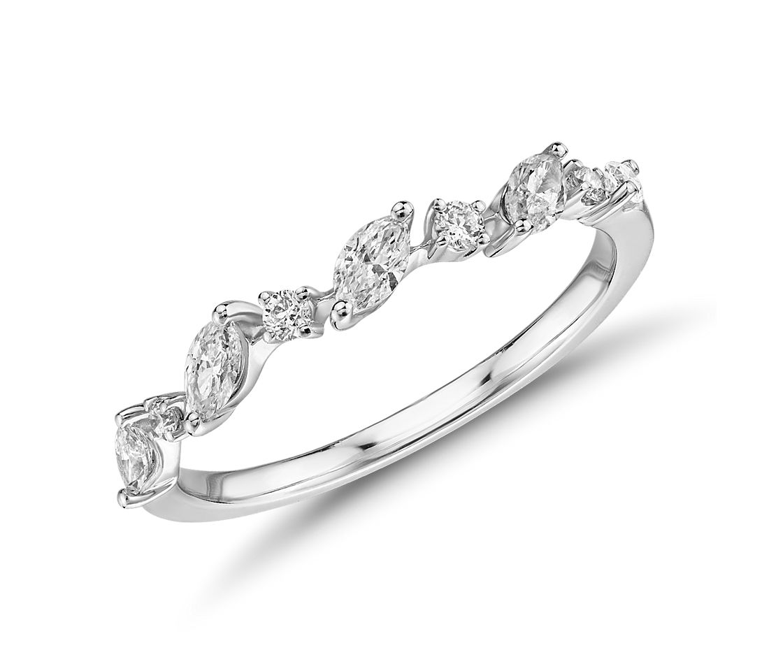 Diamond Marquise-Cut Vine Fashion Ring in 14k White Gold (1/3 ct. tw.)