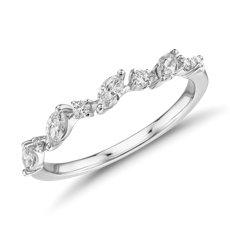 14k 白金钻石马眼琢型藤蔓时尚戒指<br>(1/3 克拉总重量)