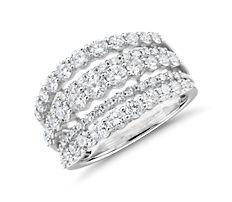 14k 白金鑽石大小漸變排列時尚戒指(2 克拉總重量)
