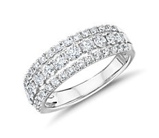 Triple Row Diamond Fashion Ring in 14k White Gold (.95 ct. tw.)