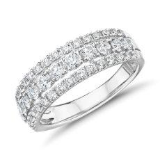 Bague mode diamant triple rang en or blanc 14carats (,95carat, poids total)
