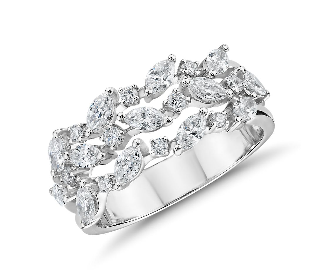 Diamond Triple Row Marquise Vine Fashion Ring in 14k White Gold (1 ct. tw.)
