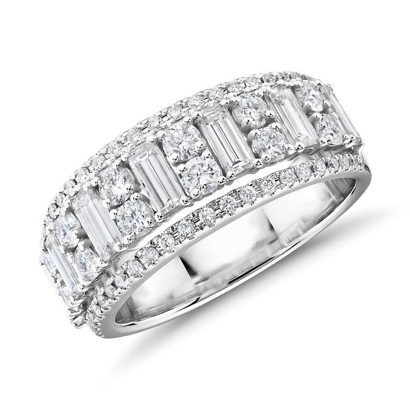 Triple Row Emerald-Cut Fashion Ring in 14k White Gold (1 2/5 ct.