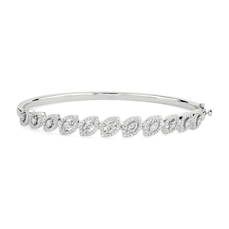 Diamond Marquise Halo Bangle in 18k White Gold (1 3/8 ct. tw.)