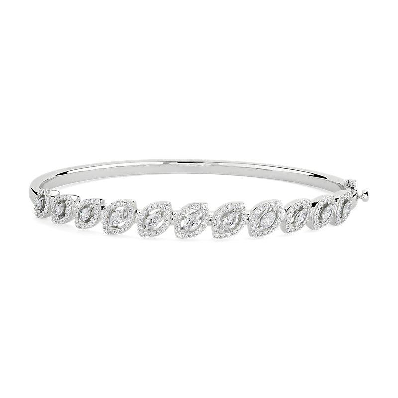 Diamond Marquise Halo Bangle in 18k White Gold (1 3/8 ct. tw.)