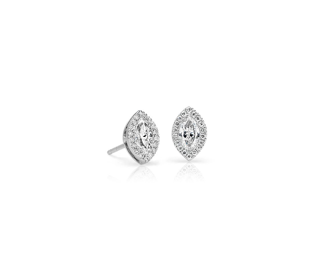 Petite Marquise Diamond Halo Earrings in 14k White Gold