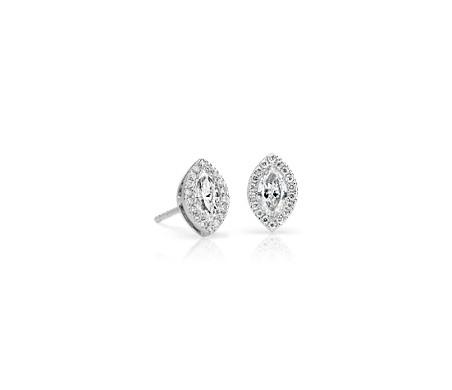 Petites boucles d'oreilles diamant taille marquise avec halo de diamants en or blanc 14carats