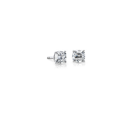 Diamond Martini Stud Cushion-Cut Earrings in 18k White Gold (1 ct. tw.)