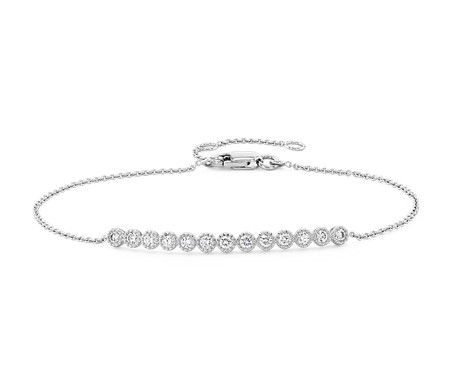 Diamond Milgrain Bar Bracelet in 14k White Gold