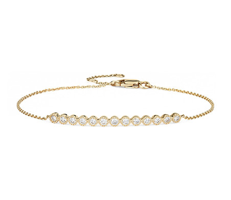 Diamond Milgrain Bar Bracelet in 14k Yellow Gold (1/4 ct. tw.)