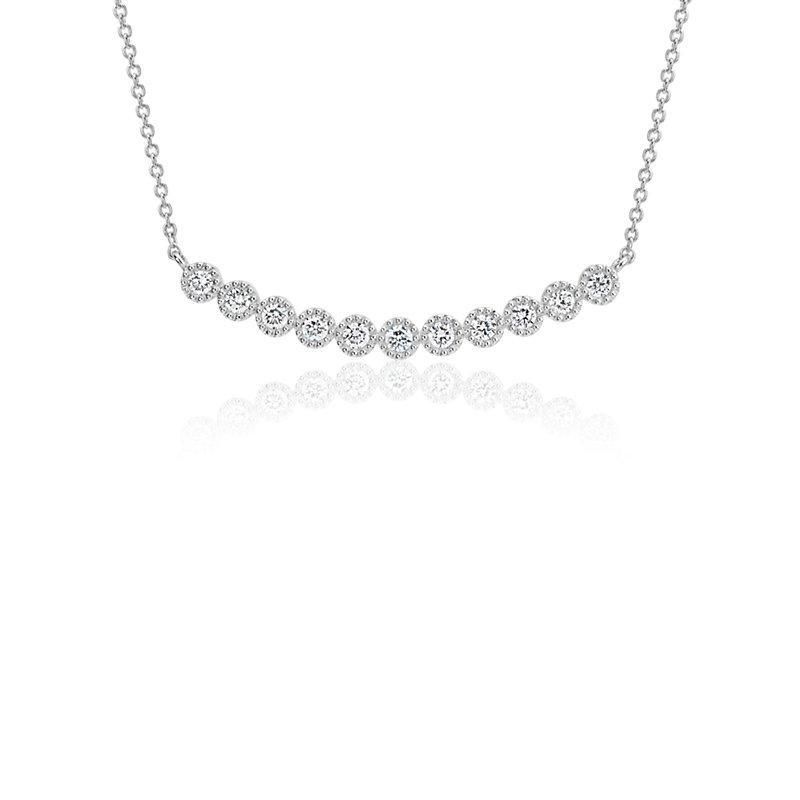 Diamond Milgrain Smile Necklace in 14k White Gold (1/4 ct. tw.)