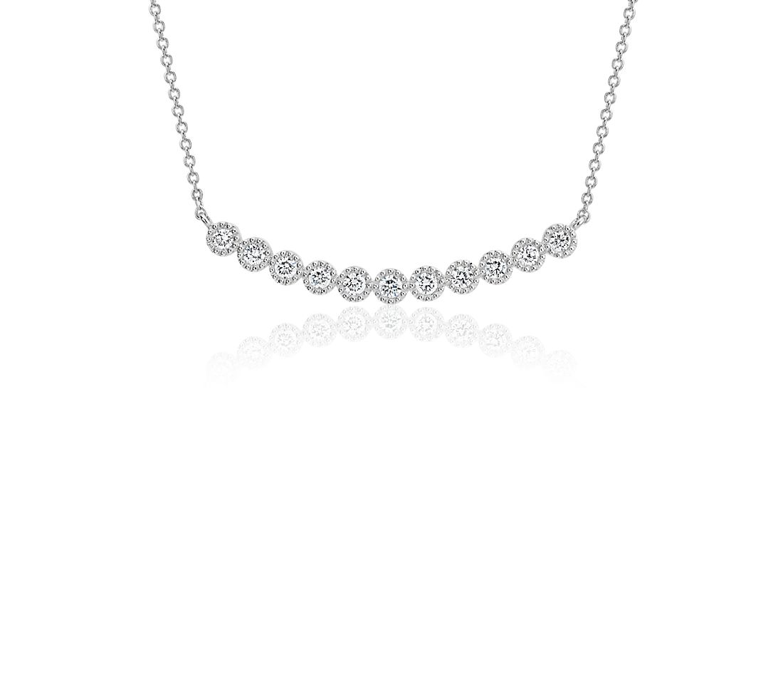 Collier sourire millegrain diamants en or blanc 14 carats (1/4 carat, poids total)