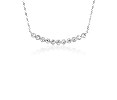Diamond Milgrain Smile Necklace in 14k White Gold (1/4 ct. tw.)
