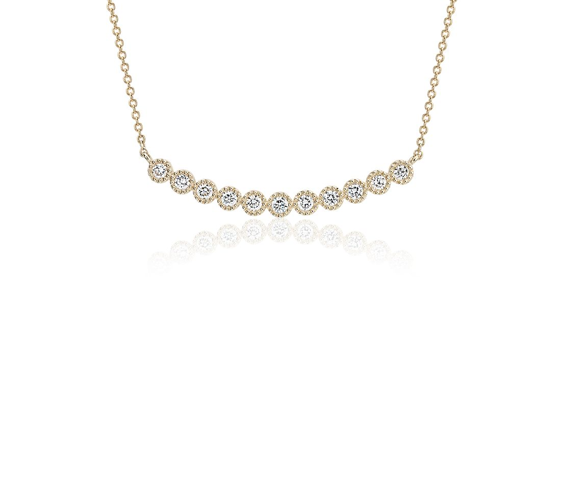 Diamond Milgrain Smile Necklace in 14k Yellow Gold