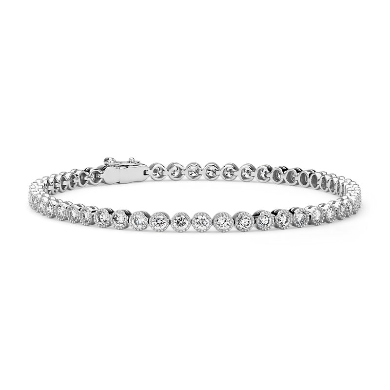 Diamond Milgrain Tennis Bracelet in 14k White Gold (2 7/8 ct. tw.