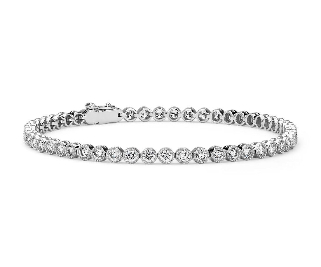 Brazalete tipo tenis con diamantes y detalles en milgrain en oro blanco de 14 k (2 7/8 quilates total)