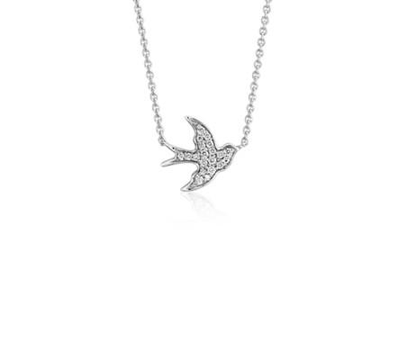 鳩のミニダイヤモンドネックレス K14ホワイトゴールド (1/8 ct. tw.)