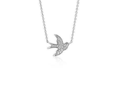 Petite Diamond Dove Necklace in 14k White Gold