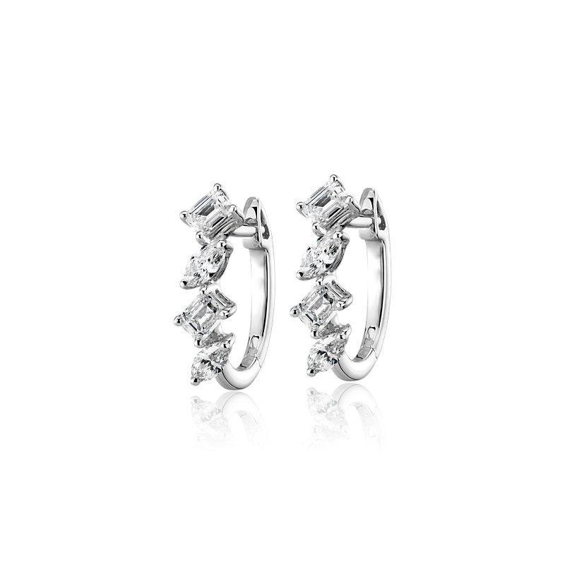 Mixed Fancy Shape Diamond Hoop Earrings in 14k White Gold (1 ct.