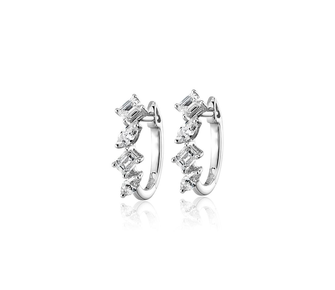 Mixed Fancy Shape Diamond Hoop Earrings in 14k White Gold