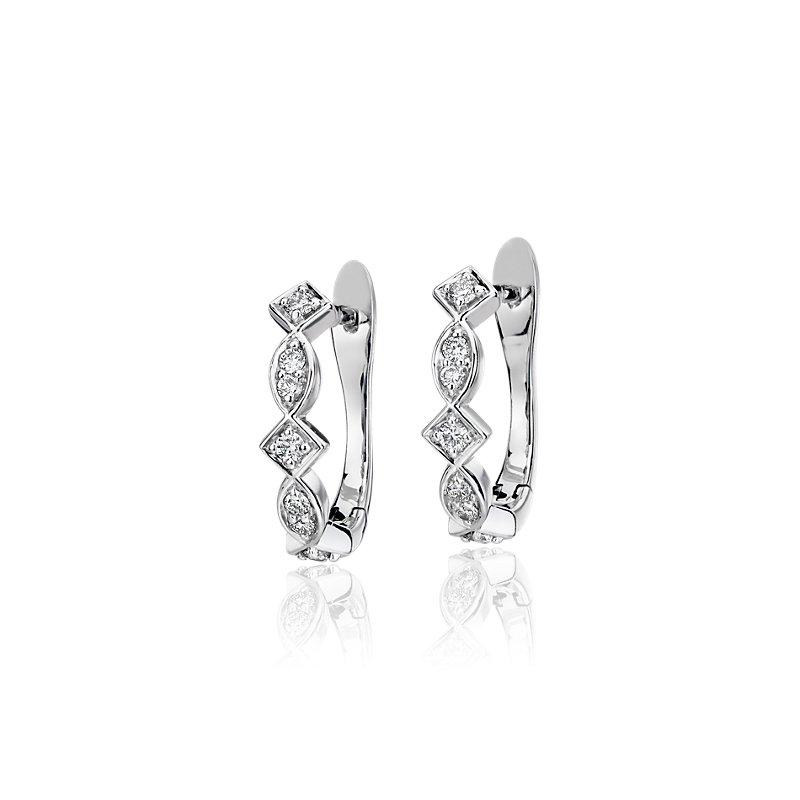 Diamond Mixed Fancy Shape Huggie Hoop Earrings in 14k White Gold