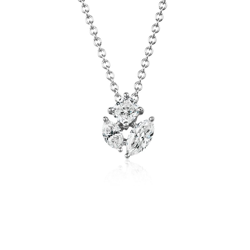 Fancy Shape Diamond Cluster Pendant in 14k White Gold (1/2 ct. tw