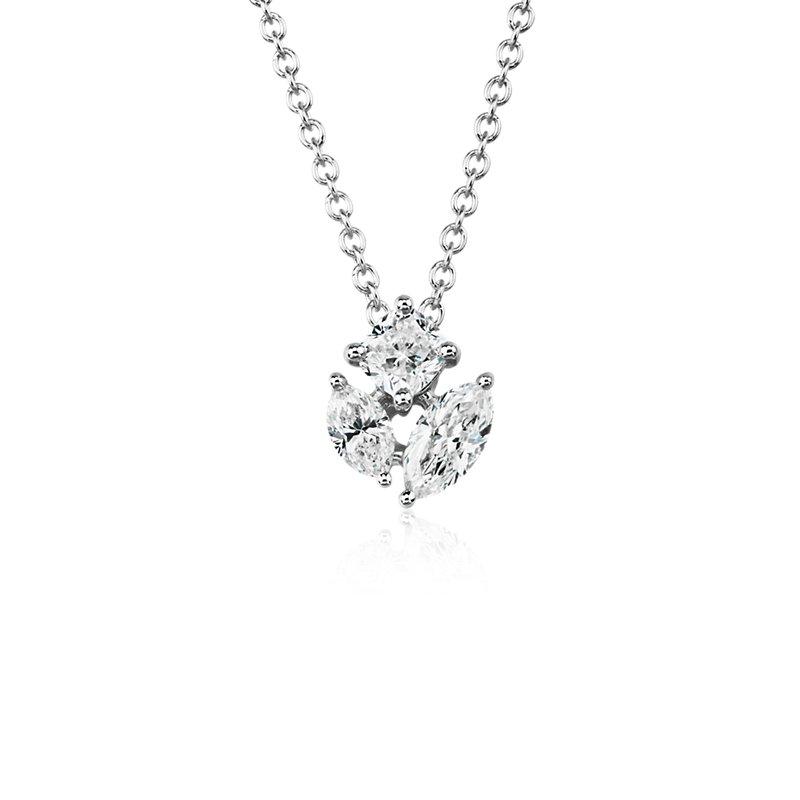 Fancy Shape Diamond Cluster Pendant in 14k White Gold (1/2 ct. tw.)