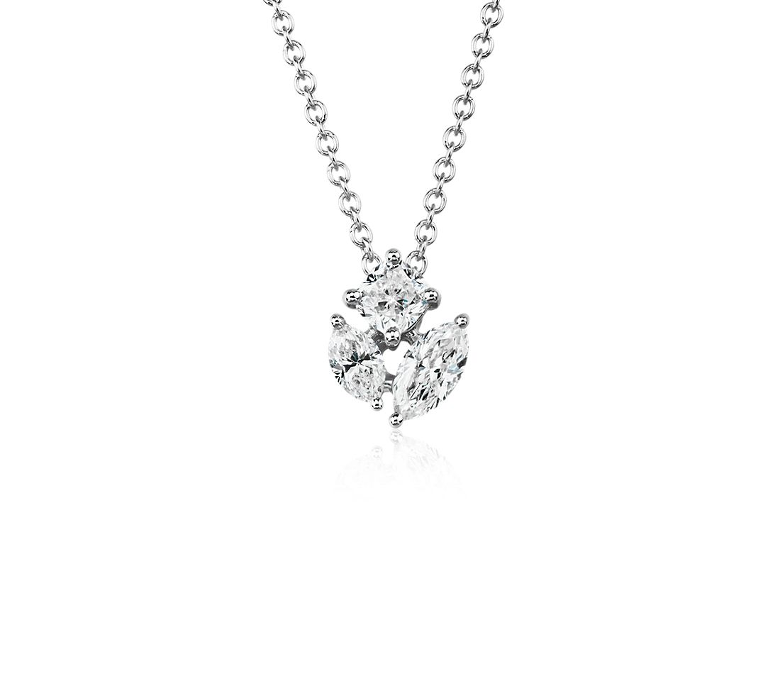 Fancy Shape Diamond Cluster Pendant in 14k White Gold (1/2 ct. tw.)