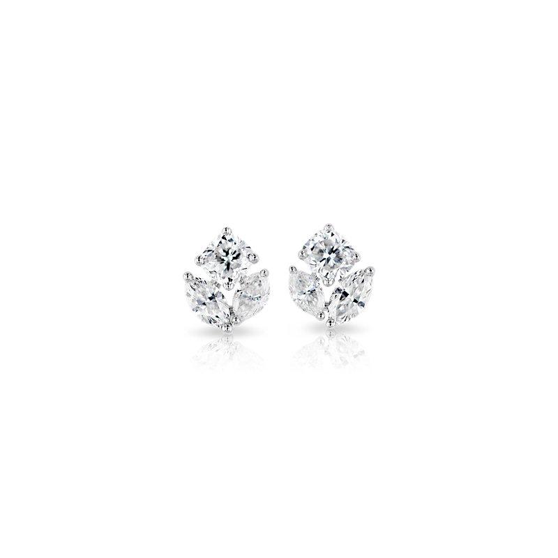 Mixed Shape Diamond Cluster Stud Earrings in 14k White Gold (1 ct