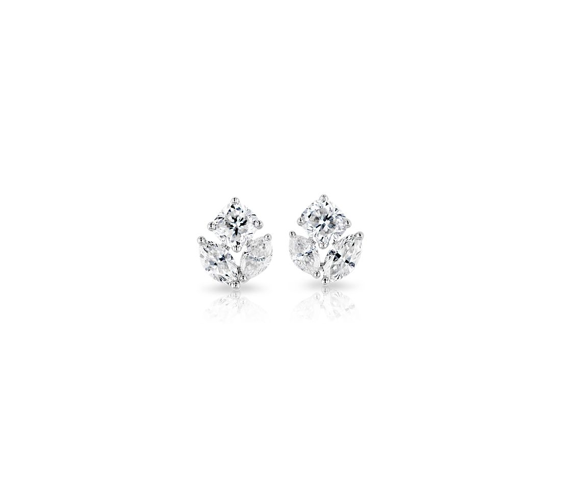 Mixed Shape Diamond Cluster Stud Earrings in 14k White Gold (1 ct. tw.)