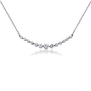 Curved Diamond Necklace in 18k White Gold